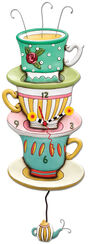 "Wanduhr ""Teetassen"", Kunstguss handbemalt"