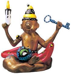 "Skulptur ""The Flying Buddha Doll"" (2000), Version in Bronze handbemalt"