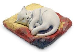 """Skulptur """"Die weiße Katze"""", Kunstguss handbemalt"""