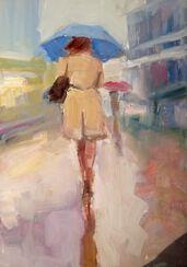 "Bild ""Frau im beigefarbenen Mantel"" (2017) (Unikat)"