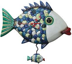 "Wanduhr ""Fish"", Kunstguss handbemalt"