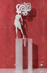 """Sternzeichen-Skulptur """"Widder"""" (21.3.-20.4.), Edelstahl auf Sockel"""