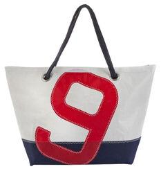 "Maritime Segeltuch-Tasche ""Sailbag Carla"", blau-rote Version"