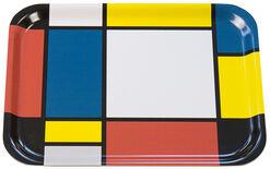 """Holztablett """"Komposition mit Gelb, Rot, Schwarz, Blau und Grau"""" (1921)"""
