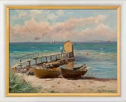 """Bild """"Badehäuschen am See"""" (1914), gerahmt"""