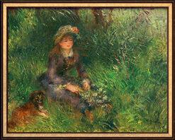 """Bild """"Aline Charigot mit Hund"""" (1880), gerahmt"""