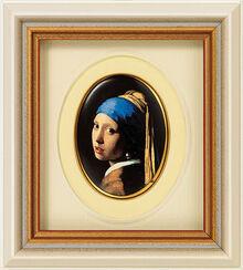 "Miniatur-Porzellanbild ""Das Mädchen mit dem Perlenohrring"" (1665), gerahmt"