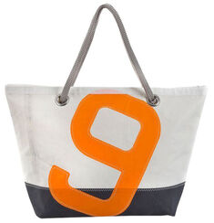 "Maritime Segeltuch-Tasche ""Sailbag Carla"", blau-orange Version"