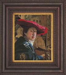 """Bild """"Mädchen mit rotem Hut"""", gerahmt"""