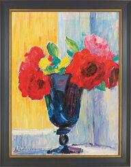 "Bild ""Rose in blauer Vase"", gerahmt"