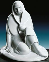 """Skulptur """"Sitzendes Mädchen"""", Porzellan"""