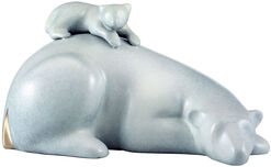 """Skulptur """"Eisbär mit Baby"""", Bronze"""