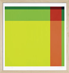 """Bild """"Diagonal von hellgrün über rot zu dunkelgrün"""" (1973), gerahmt"""
