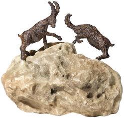 "Skulpturenpaar ""Steinböcke"" auf Stein, Metall-/Kunstguss"