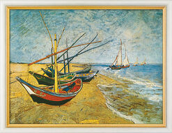 """Bild """"Fischerboote am Strand von Saintes-Maries"""" (1888), gerahmt"""
