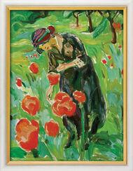 """Bild """"Frau mit Mohnblumen"""" (1918/19), gerahmt"""