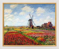 """Bild """"Champs de tulipes en Hollande - Tulpenfeld in Holland"""" (1872), gerahmt"""