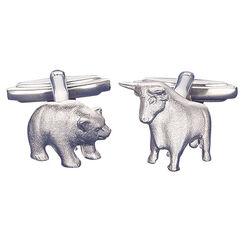 """Manschettenknöpfe """"Bulle und Bär"""", Version Silber"""