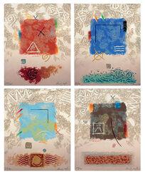 """4 Bilder """"Feuer"""", """"Wasser"""", """"Luft"""" und """"Erde"""" im Set"""