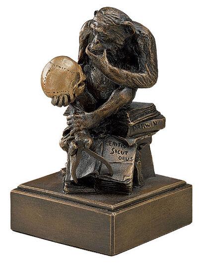 """Wolfgang Hugo Rheinhold: Skulptur """"Affe mit Schädel"""" (1892-93), Version in Kunstbronze"""
