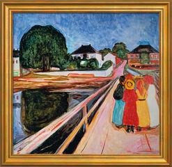"""Bild """"Mädchengruppe auf einer Brücke"""" (1902), gerahmt"""