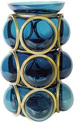 """Vase """"Charming Blue"""", Glas/Metall"""