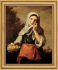 """Bild """"Mädchen mit Früchten und Blumen"""" (1655-1660), gerahmt"""
