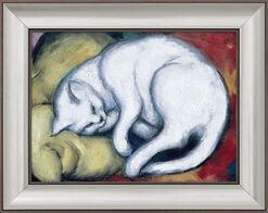 """Bild """"Die weiße Katze"""" (Kater auf gelbem Kissen) (1912), gerahmt"""