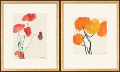 """2 Bilder """"Oranger Mohn"""" (1998) und """"Roter Mohn mit grünen Stängeln"""" (1999) im Set"""