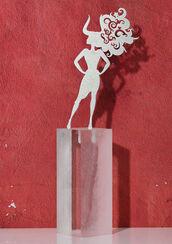 """Sternzeichen-Skulptur """"Stier"""" (21.4.-20.5.), Edelstahl auf Sockel"""