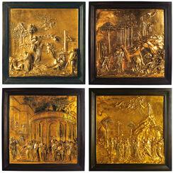 """Vier Reliefs aus der """"Paradiespforte"""""""