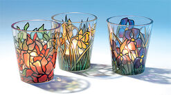 3 Glas-Windlichter im Set - nach Louis C. Tiffany