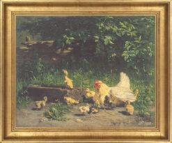 """Bild """"Henne mit Küken und junge Enten"""", gerahmt"""