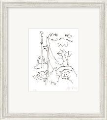 """Bild """"Jazz-Trompeter"""" (2017), gerahmt"""