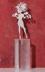 """Sternzeichen-Skulptur """"Fische"""" (20.2.-20.3.), Edelstahl auf Sockel"""