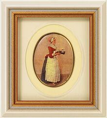 """Miniatur-Porzellanbild """"Schokoladenmädchen"""" (1743-45), gerahmt"""