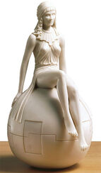 "Skulptur ""Mädchen auf Kugel"", Kunstmarmor"