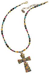 "Collier ""Multi Flower Crystal Cross"""