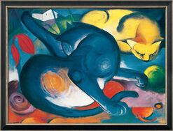 """Bild """"Zwei Katzen, blau und gelb"""" (1912), gerahmt"""