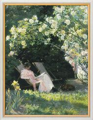 """Bild """"Unter dem Rosenbusch (Havepartie med Marie Kroyer)"""", gerahmt"""