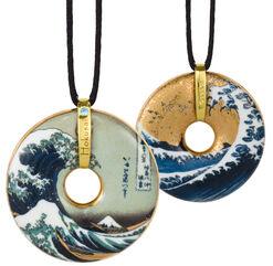 "Porzellan-Anhänger ""Hokusai"" mit Stoffband"