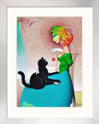 """Bild """"Schwarze Katze"""" (2012) (Original / Unikat), gerahmt"""