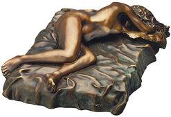"""Skulptur """"Liegender Akt auf Kissen"""", Version in Bronze"""