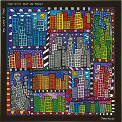 "5-teiliges Magnetboard ""You can not take the city"", Glas/Kunststoff"
