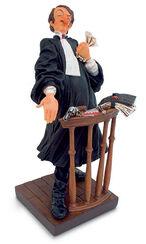 "Karikatur ""Der Anwalt"", Kunstguss handbemalt"