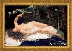 """Bild """"Frau mit Papagei"""" (1866), gerahmt"""