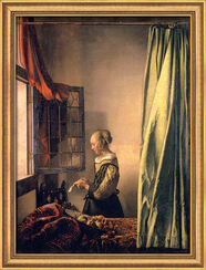 """Bild """"Brieflesendes Mädchen am offenen Fenster"""" (1658), gerahmt"""