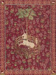 """Wandteppich """"Das gefangene Einhorn"""", Version in rot"""