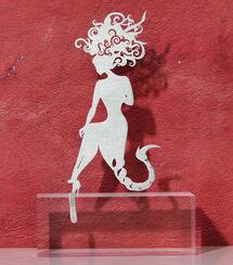 """Sternzeichen-Skulptur """"Skorpion"""" (24.10.-22.11.), Edelstahl auf Sockel"""