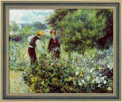 """Bild """"Beim Blumenpflücken"""" (1875), gerahmt"""